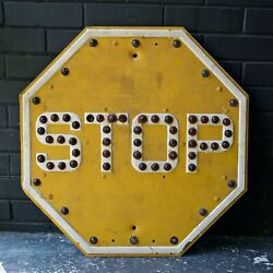 Vtg 1920s Yellow Red Jeweled Cats Eye Marble Reflector Stop Sign Railroad Motor