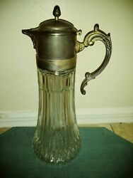 Antique 1779 Ealis Diamond Glass Silver-plated Wine Carafe