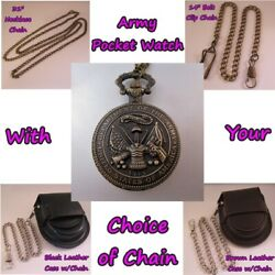 Army Us Military Pocket Watch W/your Choice Of Chain Gifts For Him Men Dad