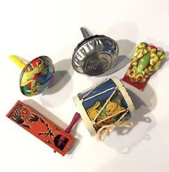 Vintage Lot Of 5 Metal Tin Toys - Noisemakers Bank Drum Hopping Frog
