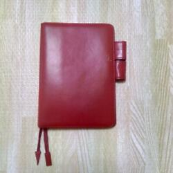 Hobonichi Cowhide Made Diary Cover Red Tanned Leather Pen Holder A6 Size $64.99