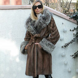 Women Genuine Natural Mink Fur Coat With Silver Fox Fur Collar And Cuff Jacket