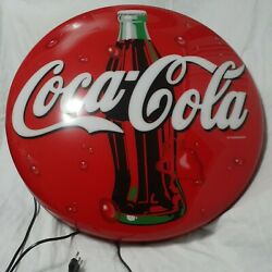 """Vintage Coca-cola 24"""" Lighted Button Sign Bottle New Old Stock German Rare"""