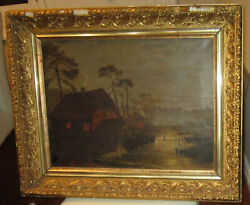1860s Barbizon School Oil On Canvas Painting - Rural Landscape With Water Mill