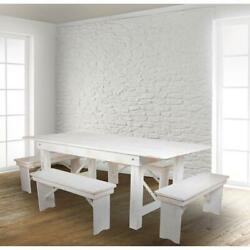 Hercules Series 7' X 40 Antique Rustic White Folding Farm Table And Four...