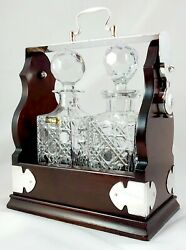 2 Decanter Swing Top Tantalus, Silver Plated + Lead Crystal Decanters T15