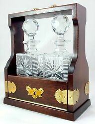 2 Decanter Drop Front Tantalus, Solid Brass Fittings + Lead Crystal Decanters T5