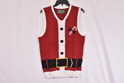 Menand039s Ugly Christmas Sweater Santa Suit Sweater Vest Cayenne Small