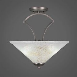 Zilo Semi Flush With 3 Bulbs Shown In Graphite Finish With 16 Gold Ice Glass