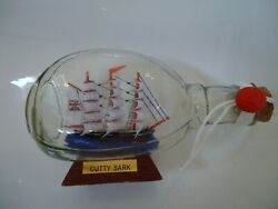 Ship In A Dimple Bottle Cutty Sark Model On Stand Lots Detail Nice Nautical Boat