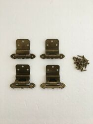 4 Vintage Antique Brass Self Closing Hinges With Matching Mounting Screws