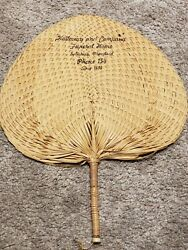 Antique Victorian Wicker Advertising Fan - Halloway And Company Funeral Home