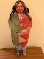 Antique Seneca Indian Doll With Baby - 15 Tall