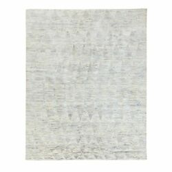 7'10x10' Silk With Text Wool Repetitive Curvilinear Design Handmade Rug G58607