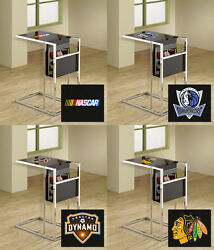 Tv Tray Magazine Rack Sports Theme Slide Under Couch Black And Chrome Glass Top