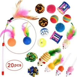 20 Pcs Cat Toys Cat Wand Toys for Kittens Cat Teaser Toys Interactive Cat Toys