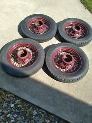 1932 Ford Professionally Painted Rims Set Of 4 18 Nice Condition
