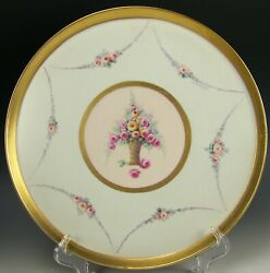 Limoges Handpainted Roses In Basker Gold 11.25 Tea Coffee Tray By E Challinor
