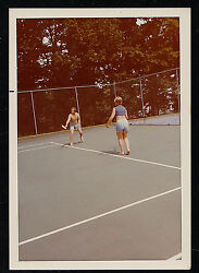 Old Vintage Photograph Two People Playing Tennis in Courts