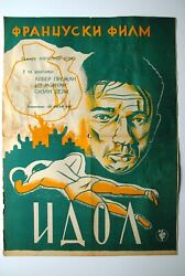 The Idol French Yves Montand Boxing 1948 Unique Rare Cyrillic Exyu Movie Poster
