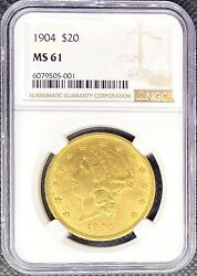 1904 • 20 American Gold Double Eagle Liberty Head • Ms61 Ngc • Lustrous Coin