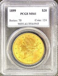 1899 • 20 American Gold Double Eagle Liberty Head • Ms61 Pcgs • Lustrous Coin