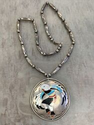 Old Pawn Native American Zuni Inlaid Spinner Super Unique Necklace