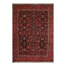 10and03910 X 13and0399 Hand Knotted 100 Wool Hamadann Oriental Area Rug Midnight Blue