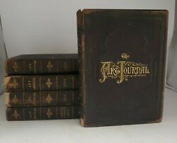 Antique Lot Of 5 The Art Journal Books 1852-1874 Leather Set Dk3