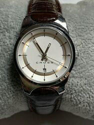 CROSS Ladies Watch Brown Leather Band Stainless Steel New Battery $19.99