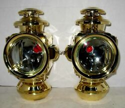 Pair Eandj Brass 2-tier Sidelamps W/flare Rims Off Nrs Or Early Model T Ford