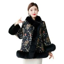Women Retro Floral Printed Faux Fox Fur Jacket Warm Cotton Chinese Style Coats L