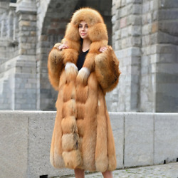 Whole Skin Real Red Fox Fur Overcoat Women Winter Natural Fur Warm Hooded Coat