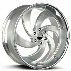 4 24 Strada Wheels Retro 6 Silver W Brushed Face And Ss Lip Rims Blank B7