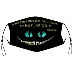 Cheshire Cat Alice Wonderland Carroll Road Book Quote Cloth Face Mask