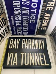 1948 Ny Nyc Bmt Subway Roll Sign Bay Parkway Tunnel Gravesend Midwood Brooklyn