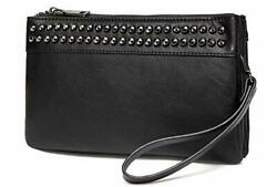 Wristlet Clutch Purses SAC Large Studs Soft Faux Leather Crossbody Black $36.85