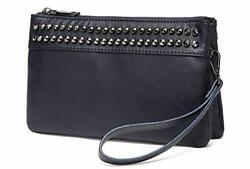Wristlet Clutch Purses SAC Large Studs Soft Faux Leather Crossbody Navy $35.38