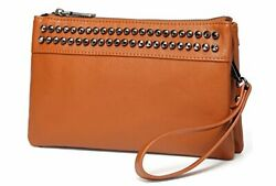 Wristlet Clutch Purses SAC Large Studs Soft Faux Leather Crossbody Brown $38.32