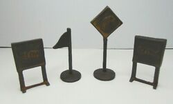 4 Vintage Double Sided Cast Iron Arcade Model Toy Railroad Road Signs Unpainted