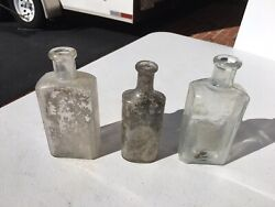 Lot Of 3 Antique Medicine/liquor Bottles - Late 1800's / Early 1900's