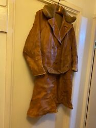 Rare Wwii Officerandrsquos Leather Flying Coat Private Purchase Royal Flying Corps L Xl