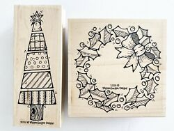 Whipper Snapper Rubber Stamp Lot 2 Christmas Tree Holiday Holly Wreath Wood