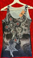 Blinged Out quot;True Lovequot; Punk Goth Tank Top Sz Small