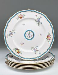 6 Spode Bone China Dinner Plates Trapnell Pattern With Gadroon Border