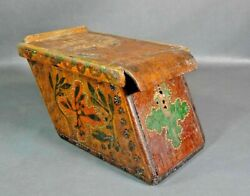 Antique Church Monastery Charity Money Wooden Box Chest Casket Cross Old Paint
