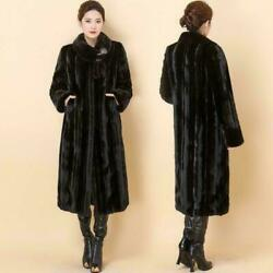 Womens Real Mink Fur Luxury Outwears Jackets Full Length Thick Long Coats Parkas