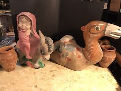 15 Inch Large Ceramic Nativity Camel Hand Painted Hand Crafted W/mmary Donkey