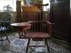 Windsor Philadelphia High Back Comb Back Salmon Right-handed Writing Arm Chair