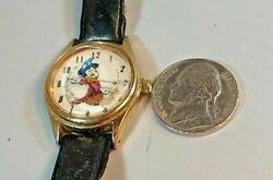 Mickey Mouse Sorcerer quot;Fantasiaquot; Disney Leather Wrist Watch Women#x27;s NEW BATTERY $19.99